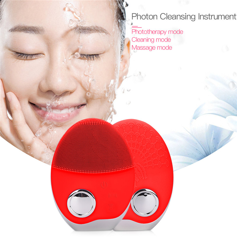 Electronic Ultrasonic Wireless-charging Facial Cleansing Brush Silicone Rechargeable Face Waterproof Massager with Photon 35