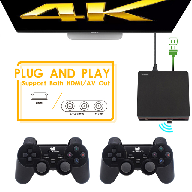 Data Frog Retro Video Game Console With 2.4G Wireless/Wired Gamepads 600 Games For HDMI Family TV  Game Console For GBA/SNES 3