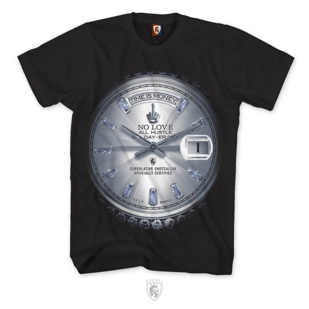 dbabf28711e OG Abel OGABEL Men s Time is Money Platinum T Shirt Black Watch Clothing  ApparelMen t shirt Popular Anime T-shirts