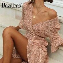 Bazaleas moda cierre lazo lateral vestido de mujer vacaciones floral naranja estampado Mujer vestido Vintage vestido envuelto drop shipping