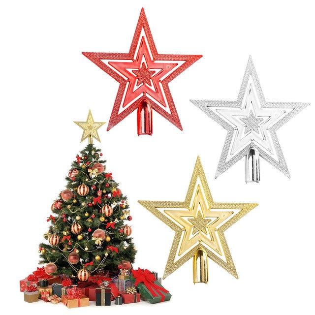 zljq 1pcs star shape christmas tree top christmas tree decoration topper xmas decorative ornament - Best Christmas Tree Topper
