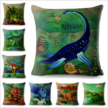Jurassic Dinosaur Plesiosaur Print Throw Pillow Cover 45*45cm Square Cushion Covers Linen Pillows Cases Home Decor Pillow Case