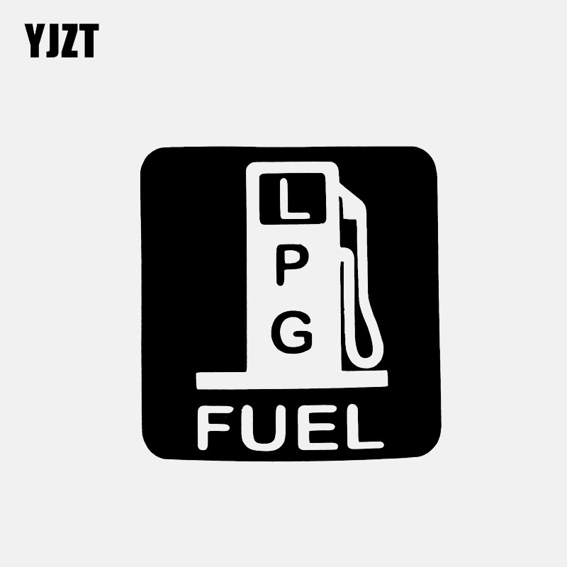 YJZT 12CM*12.7CM Car Sticker Petrol LPG Fuel Vinyl Decal Black/Silver C3-0785