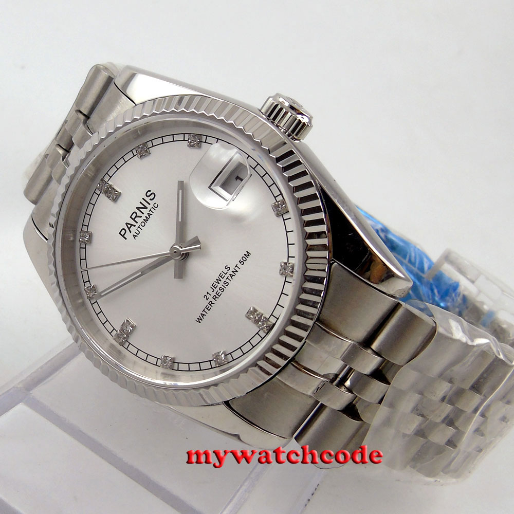лучшая цена 36mm parnis silver dial diamond marks miyota automatic Luxurious mens watch P599