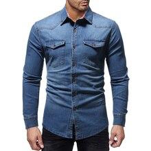 2019 New Denim-Shirt Mens Denim Shirts Long Sleeve Casual Solid Color Slim Fit Dress