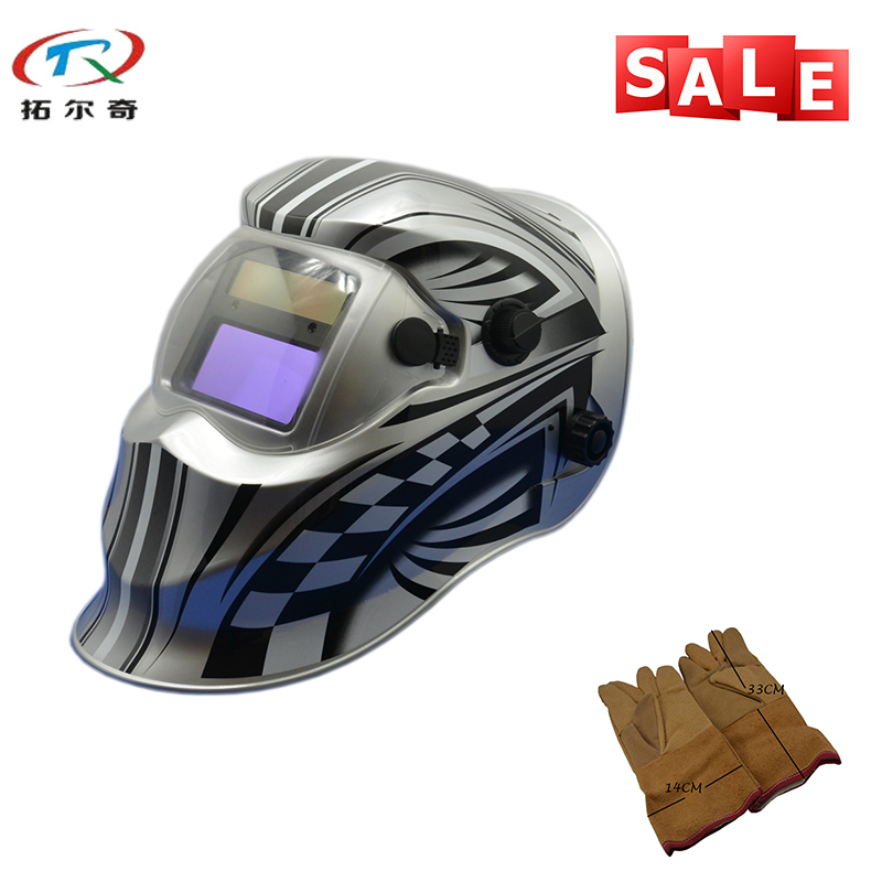 Free Shipping Adjustable Replaceable Battery Safety Helmets Better Package Auto Darkening Welding Helmet TRQ-KD01-2233FF-YG