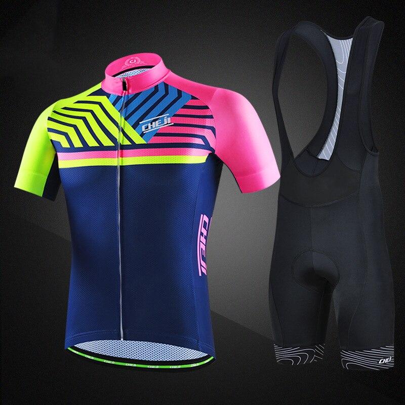 2019 nouveaux hommes cyclisme ensembles vélo Maillot manches courtes VTT vtt ensembles avec chemise rembourré Shorts Maillot Ropa Ciclismo