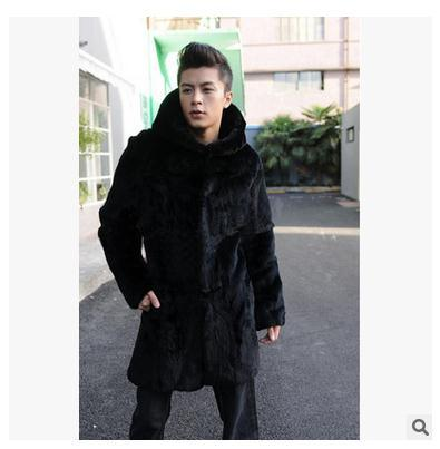 S/3Xl Men Long Section Hooded Faux Mink Fur Jacket Warm Hooded Casual Fur Overcoats   Plus Size Male Winter Jackets Coats J1366