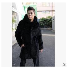 S/3Xl Men Long Section Hooded Faux Mink Fur Jacket Warm Hooded Casual Fur Overcoats   Plus Size Male Winter Jackets Coats J1366