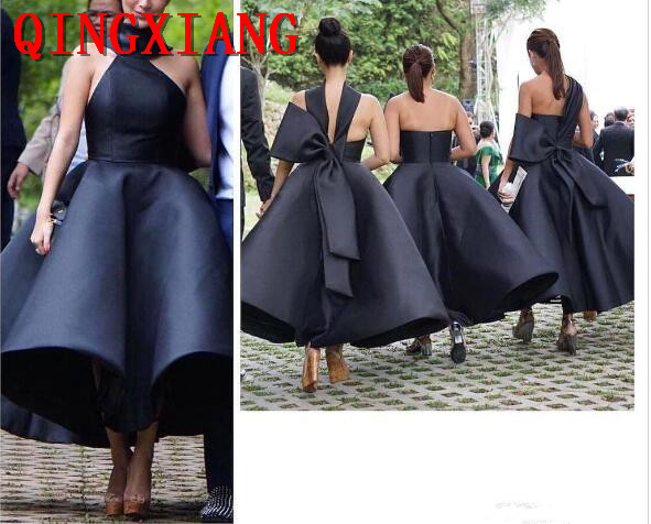 2019 Black Ball Gown   Cocktail     Dresses   Strapless Simple Ankle Length Maid Of Honor   Dress   Pleats Wedding Party Gowns