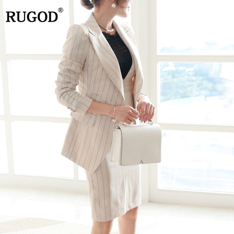 RUGOD Fashion Female Office Lady Suit Sets Notched Neck Long Sleeve Tops Sets Single Button Knee