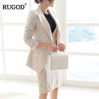 RUGOD Fashion Female Office Lady Suit Sets Notched Neck Long Sleeve Tops Sets Single Button Knee Length Skirt For Women
