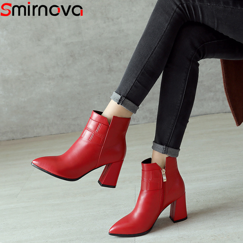 Smirnova black red fashion autumn winter shoes woman pointed toe zip genuine leather high heels ankle boots women thick heel yougolun women ankle boots 2018 autumn winter genuine leather thick heel 7 5 cm high heels black yellow round toe shoes y 233
