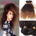 Top Ombre Malaio Do Cabelo Encaracolado 4 Feixes Tissage Kinky Curly Cabelo Humano Afro Crespo Tecer Cabelo Crespo Malaio Virgem Encaracolado tecer