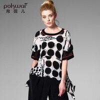 POKWAI Casual Hollow Out Silk Shirts Women Tops 2017 Brand Clothing Short Sleeve Blouse Dot Undies Overshirt Ladies Chiffon Top