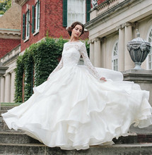 2016 Nova Colher Lace A Linha de Vestidos de Casamento Com Completa Backless do Assoalho-Comprimento de Organza Plus Size Vestidos de Noiva Robe De Mariage W186(China (Mainland))