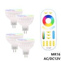 Затемнения светодио дный лампы 4 Вт MR16 12 В Ми свет RGB CCT (2700-6500 К) smart светодио дный прожектор лампы + 2,4G РФ дистанционного Управление для домашн...