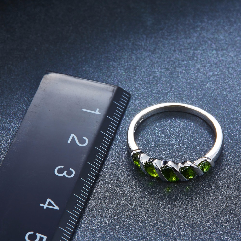 Image 3 - Hutang Wedding Rings Natural Diopside Ring Pure 925 Sterling  Silver 5 stone Fine Jewelry Vivid Green Gemstones for Womens  Giftchrome diopside ringchrome diopsidegemstone rings silver -
