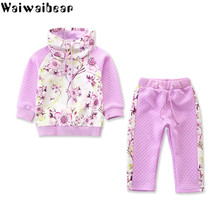 Waiwaibear Spring Baby Girls Sets Long-sleeved Print Coats +Long Pants 2pcs Clothes AT31