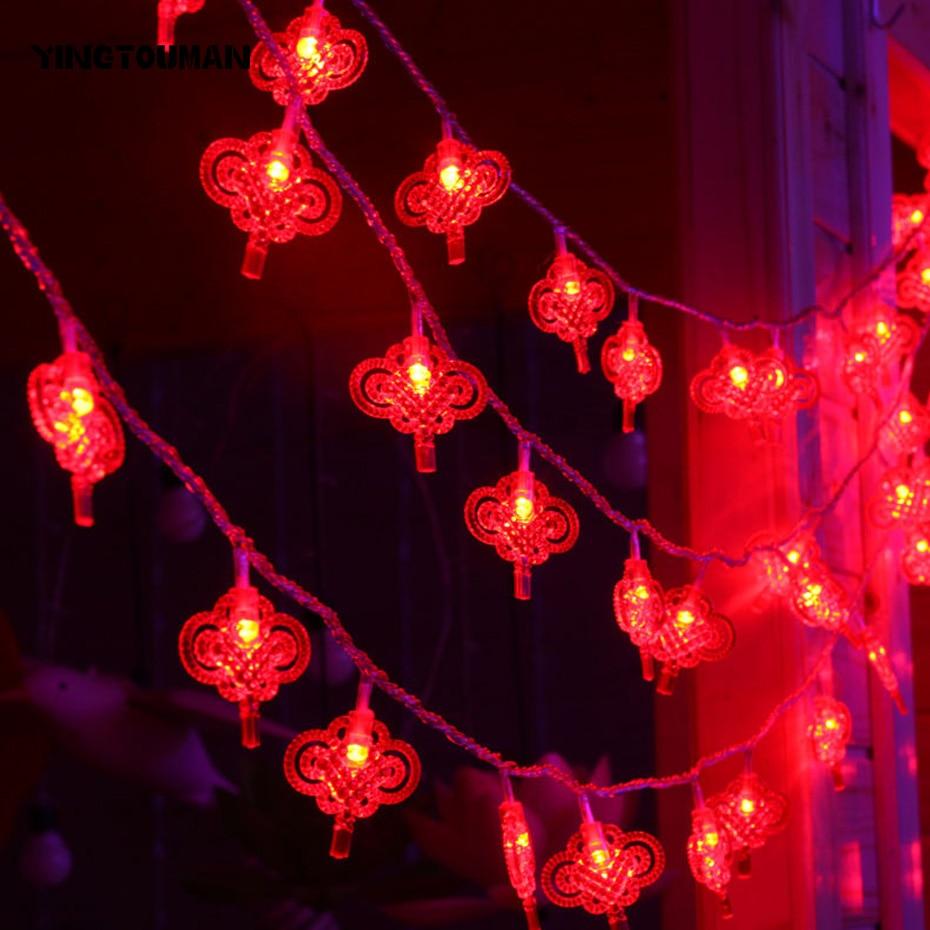YINGTOUMAN 2pcs/lot Spring Festival Lantern Lamp LED String Light Christmas Holiday Wedding Party Decoration Lighting 10m 100led