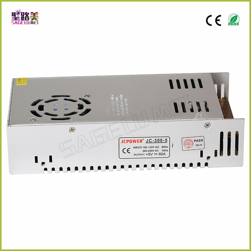 Free shipping 5V 60A 300W Switching Power Supply Driver for 5V WS2812B WS2801 LED Strip Light  Input AC 110-240V to output DC 5V wholesale free shipping high quality 5v 2a 10w led switching power supply for led light brand new