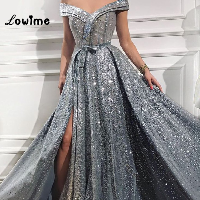 Shiny Off The Shoulder Split Prom Dresses Dubai Turkish Party Gowns Kaftan 2018 African Short Sleeves Evening Gown Formal Dress