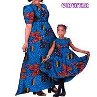 В африканском стиле Семейные комплекты Платья для мам и дочек Африканский принт хлопок Для женщин Девушка Длинные вечерние платье плюс Раз