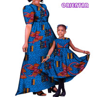 African Family Matching Clothes Mother and Daughter Dresses African Print Cotton Women Girl Long Party Dress Plus Size WYQ121