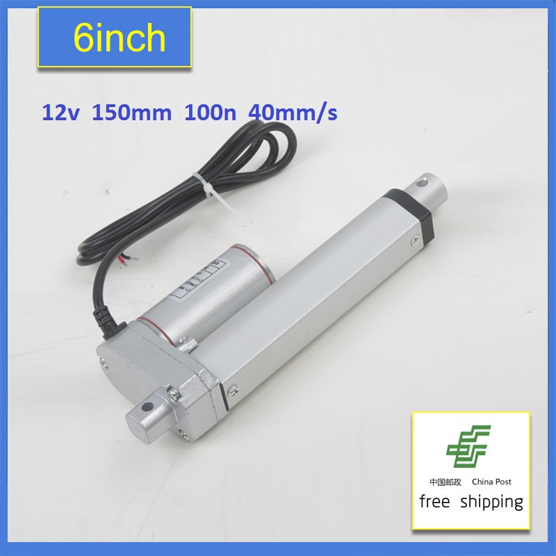 6Inch 12V DC Electric Linear Actuator 150mm Stroke 40mm/s 10KG Load 12-48V 100N Tubular Electric Motor 24V Free shipping wholesale 12v linear actuator 150mm 6 inch stroke 7000n 700kg load waterproof 36v tubular motor 48v mini electric actuator 24v
