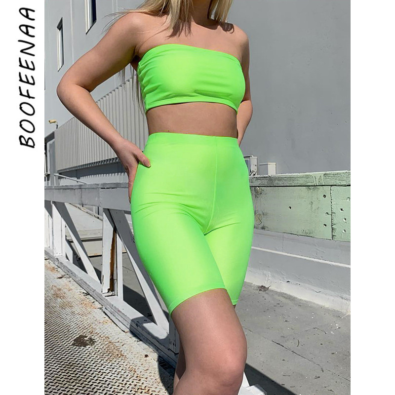 Women's Sets Nice Boofeenaa Neon Green Bodycon Two Piece Set Tube Crop Top And Biker Shorts Sexy Summer Outfits Active Wear Matching Sets C68-az38 Pure White And Translucent