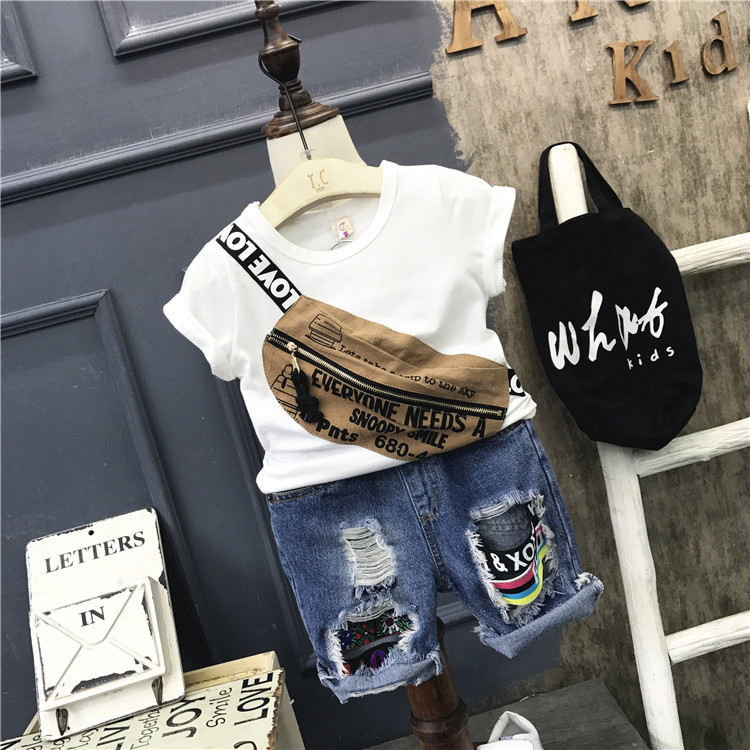 Fashion boys clothing set kids summer white dark blue t shirt and jean blue short 2pcs baby casual all match clothes children retail design children clothing set for kids girl dark blue cardigan t shirt pink skirt high quality 2014 new free shipping