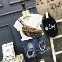 Fashion Boys Clothing Set Kids Summer White Dark Blue T Shirt And Jean Blue Short 2pcs
