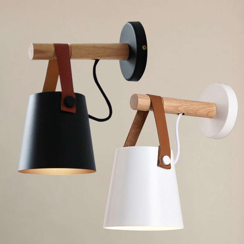 Nordic Modern Led Wall Lamp Wrought Iron Metal Wooden Leather Belt Pendant Lights Foyer Aisel Balcony