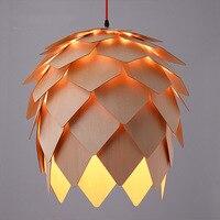 Loft Drewniane Lampy E27 Wisiorek Światła DIY Wiszące Oprawy Oświetleniowe Drewna Karczoch Jadalnia Restauracja Sklep Bar Oprawy