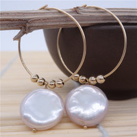 Eternal wedding Women Gift word 925 Sterling silver real The natural pearl earrings shaped flat large Purple Pearl big ear