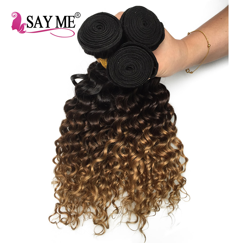 SAY ME Deep Wave Bundles Ombre Brazilian Human Hair Weave Bundles 1B/4/27 Remy Honey Blonde Hair Extensions Can Buy 3/4 Bundles