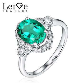 Leige Jewelry Silver Emerald Ring for Women Oval Cut Wedding Engagement Promise Ring Anniversary Christmas Gift Classic