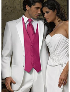 Fashion Style Two Button White Groom Tuxedos Groomsmen Men's Wedding Prom Suits Bridegroom (Jacket+Pants+Vest) K:1009
