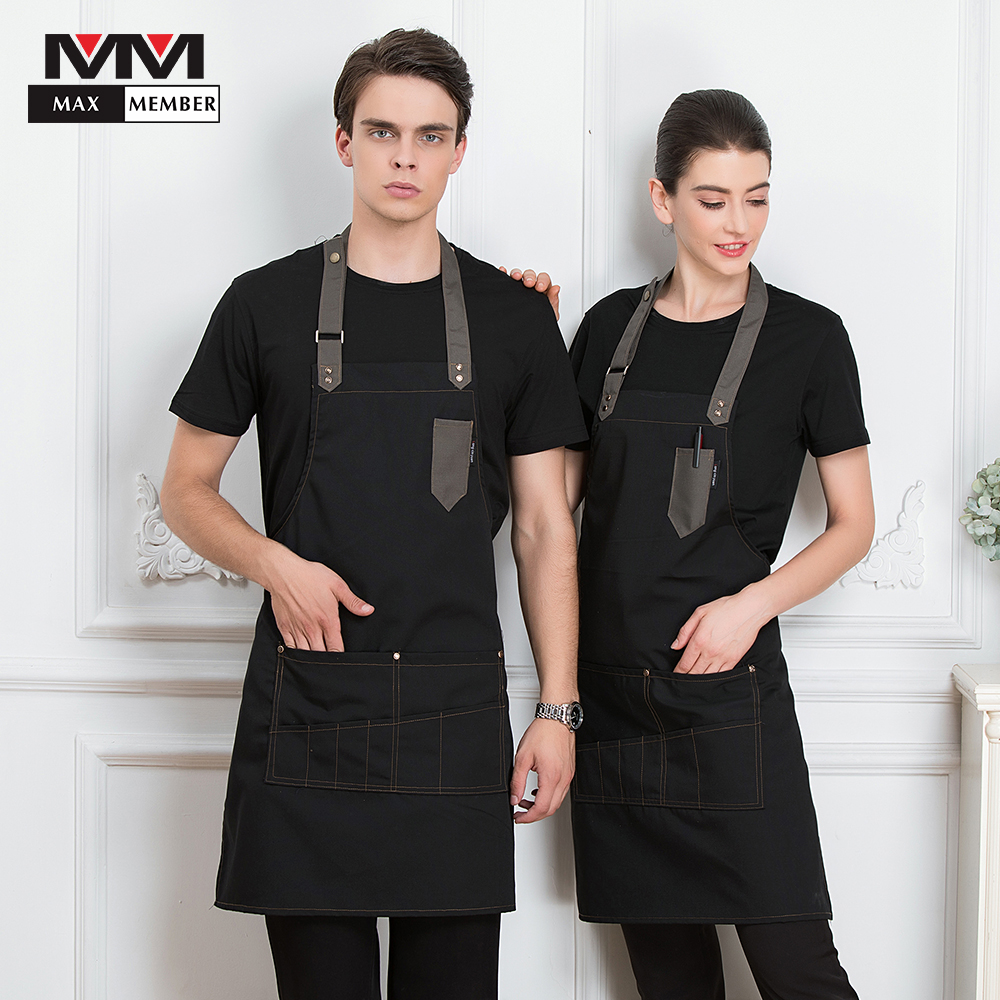 Chef Waiter Waitress Adjustable Apron Restaurant Kitchen Patchwork Cafe Women Men Pocket Cooking Cuisine Work Wear Dirtyproof