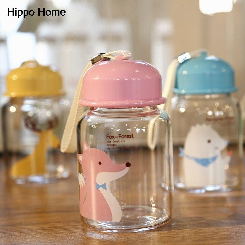 Hippo Hogar Creativo Cuerda Deportes Botella Botella de Agua de Cristal Portátil
