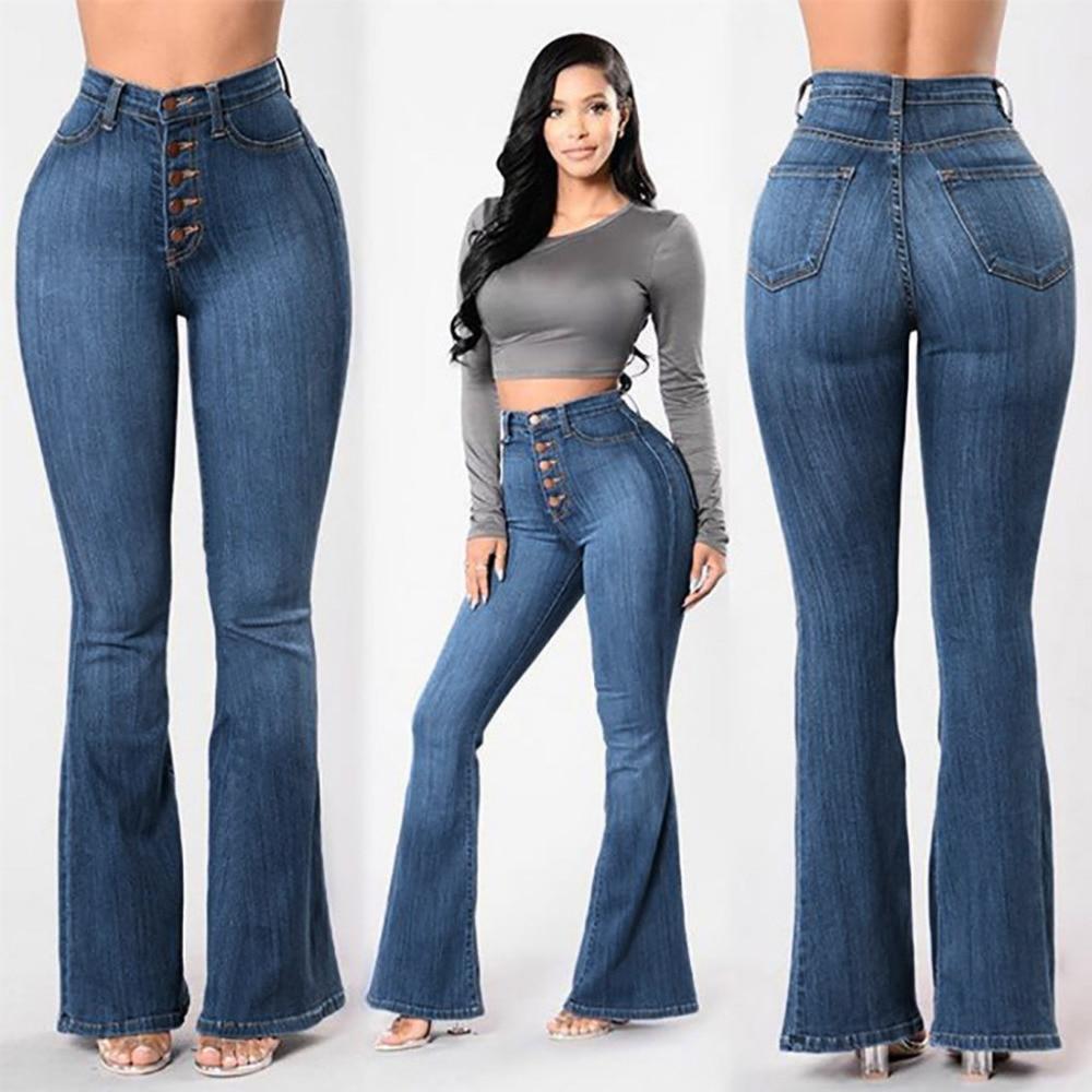 boot cut jeans Women Autumn Elastic Plus Loose Denim Pocket Button Casual calca jeans jeans woman 2019 2.23
