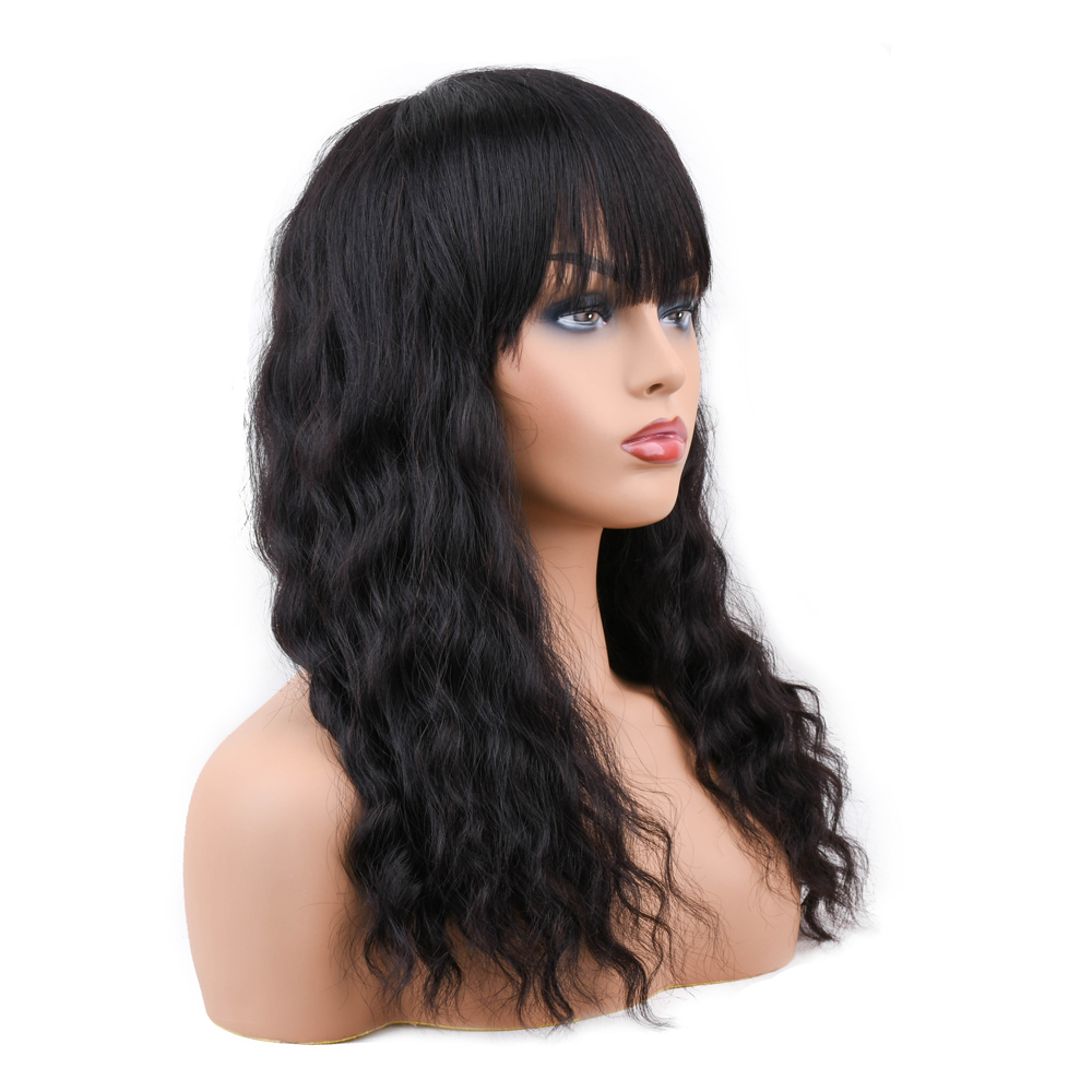 Short Glueless Human Hair Wigs with Bangs Baby Hair Non Remy Brazilian Lace Wigs For Black