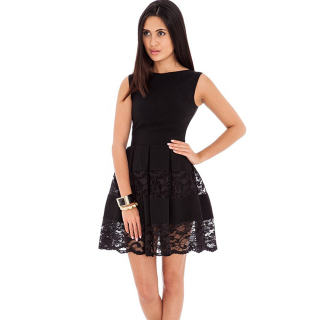 9d7ca549dcc RW80049 Nice design fit and flare black dress o neck sleeveless pleated  dress plus size sexy elegant women lace skater dress