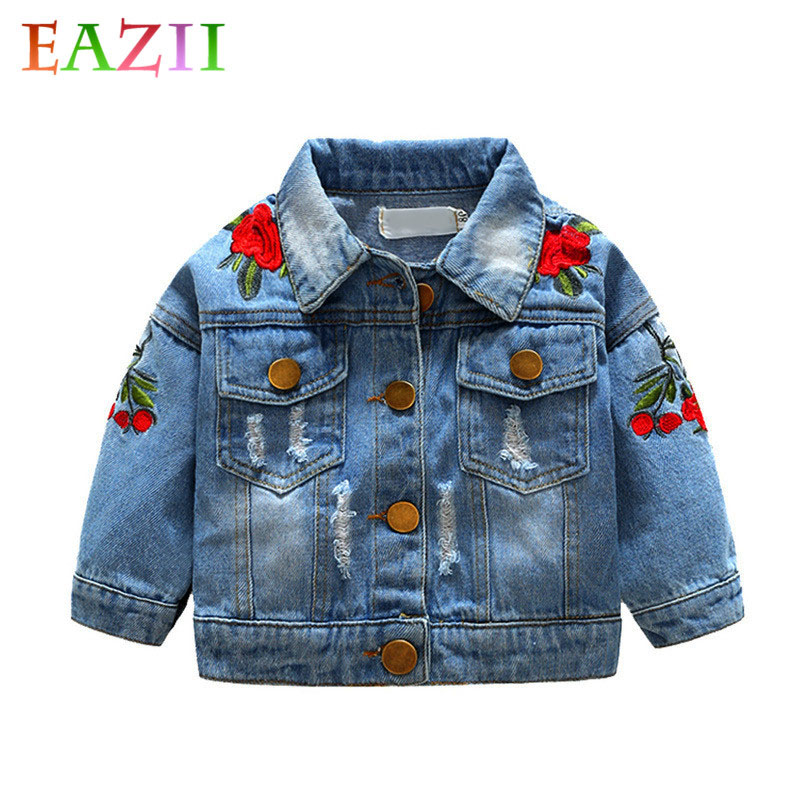 EAZII Flower Embroidery Kids Girls Jacket Spring and Autumn Baby Girls Denim Jackets Coats Fashion Children Outwear Coat