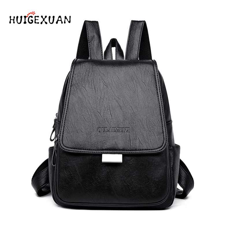 Backpack for Women 2019 High Quality PU Leather Backpack Teenage Girls School Bags Multifunction Casual Anti-theft Backpacks