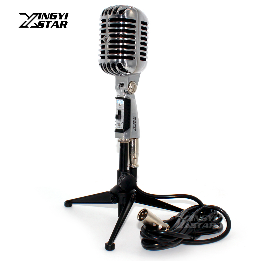 Professional Wired Vintage Microphone Holder Dynamic Mic & XLR Male to Female Cable For Singer KTV Karaoke Audio Mixer Amplifier professional switch dynamic wired microphone stand metal desktop holder for beta 58 bt 58a ktv karaoke mic microfone audio mixer