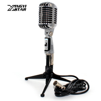 Professional Wired Vintage Microphone Holder Dynamic Mic & XLR Male to Female Cable For Singer KTV Karaoke Audio Mixer Amplifier