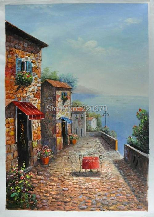 High Quality Mediterranean Style Handmade On Canvas Art Oil Painting Home Decorative Stone House Landscape In Calligraphy From