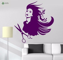 YOYOYU Vinyl Wall Decal Scissors Beautiful Lady Hair Salon Barber Hairstylist Interior Room Home Decoration Stickers FD388