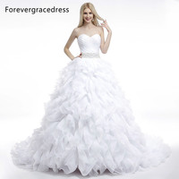 Forevergracedress Ball Gown Sleeveless Ruffles Wedding Dress Sexy Sweetheart Beaded Long Lace Up Back Bridal Gown